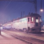 Silverliner trio at night, 6-62